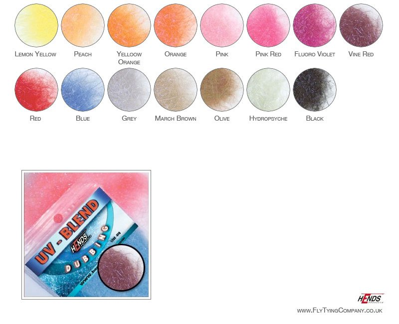 Choice of Colours Hends UV-Blend Dubbing for Fly TyingSuper Product